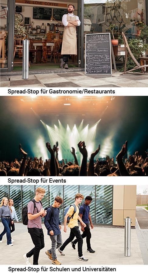 Desinfektionssäule Spread-Stop für Gastronomie/Restaurants, Events, Schulen und Universitäten